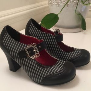 TUK black striped mary janes